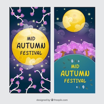 Decorative banners of mid-autumn festival
