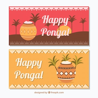 Decorative banners of pongal in flat design
