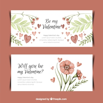 Decorative banners of valentine flowers and leaves