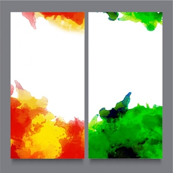 Decorative banners with abstract stains