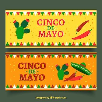 Cinco de mayoのためのガーランドとサボテンの装飾バナー