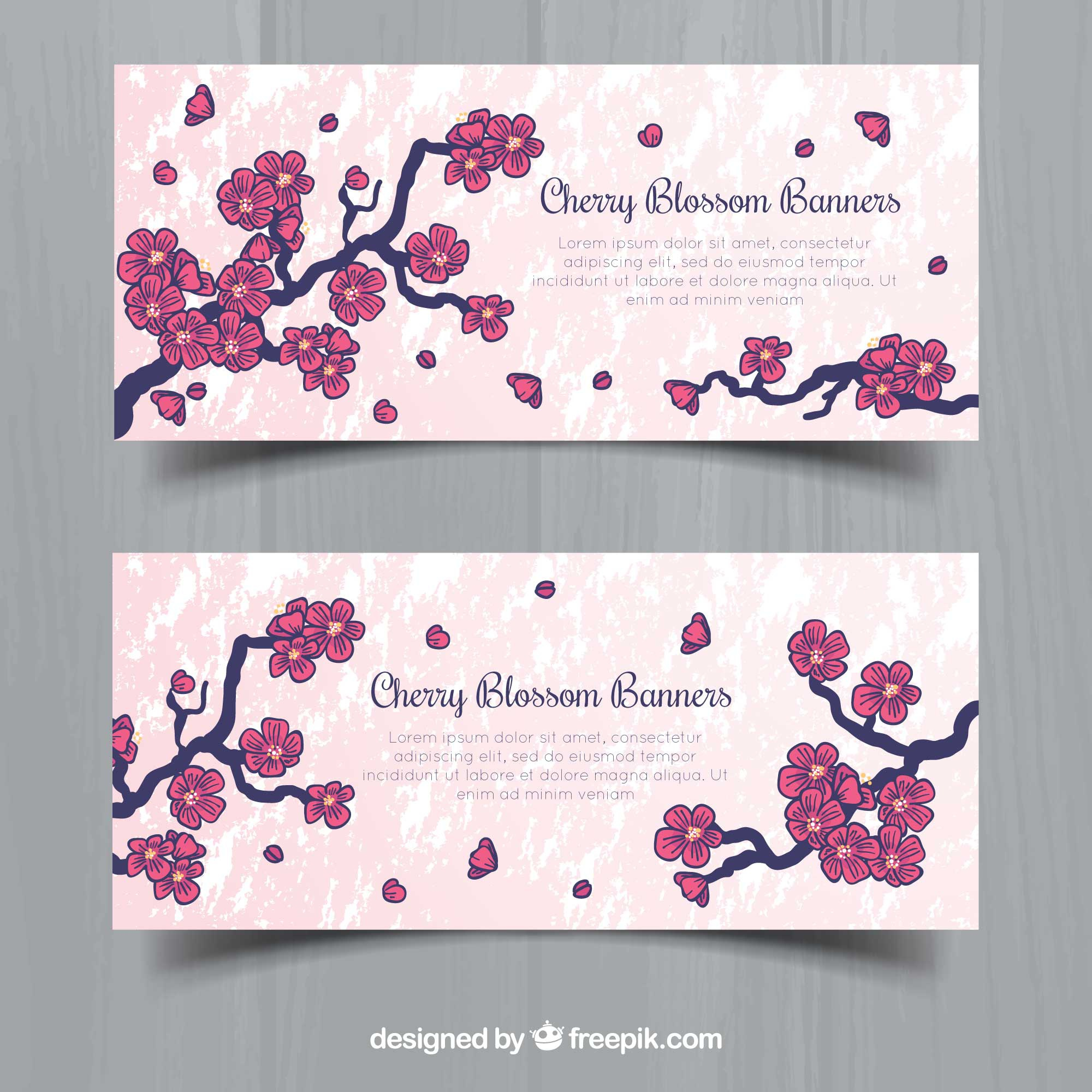 Decorative banners with hand-drawn cherry blossoms
