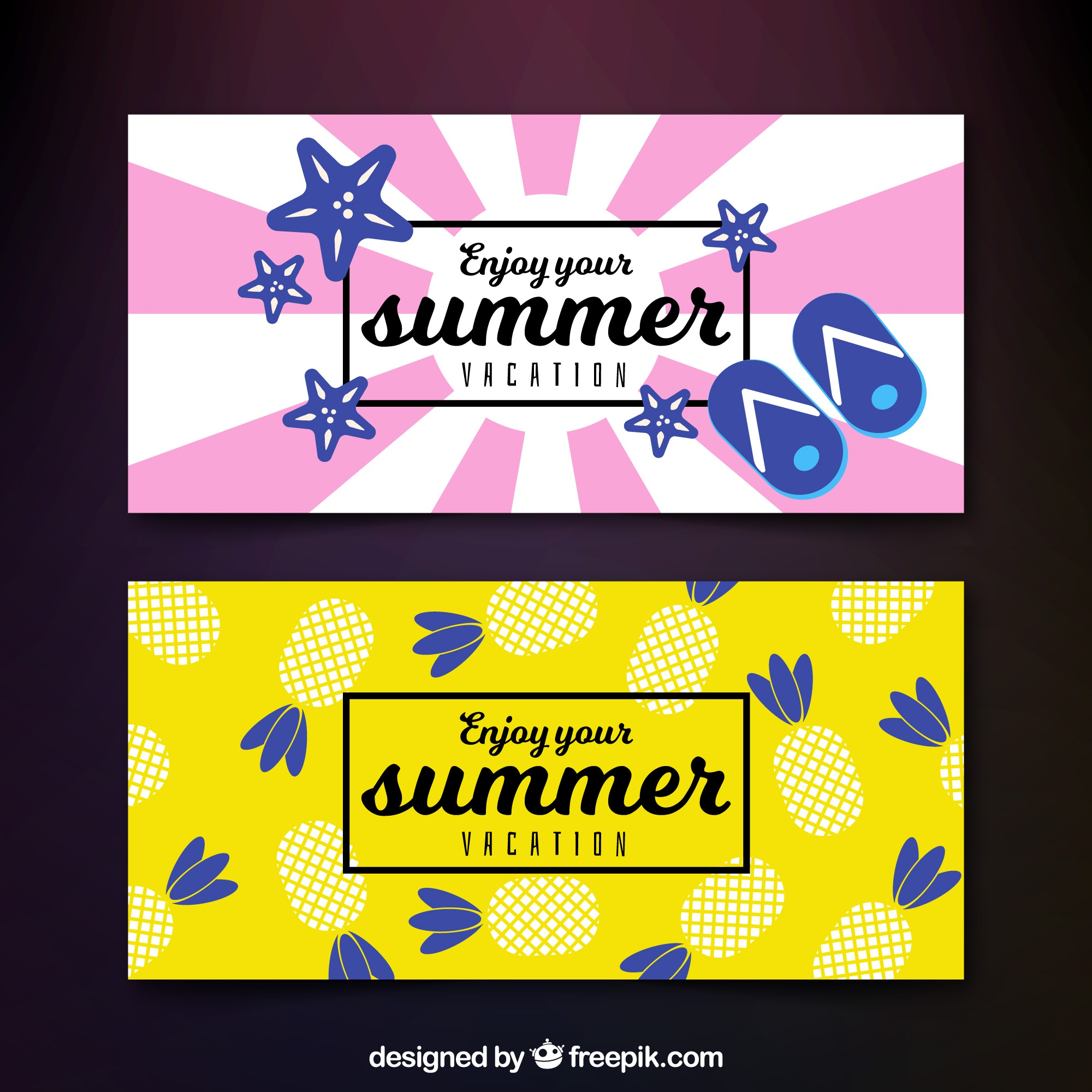 Decorative banners with summer elements in flat design