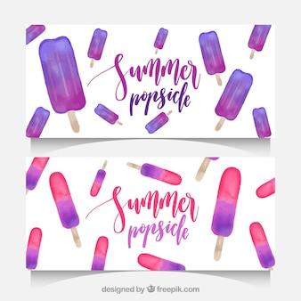 Decorative banners with watercolor ice creams for summer