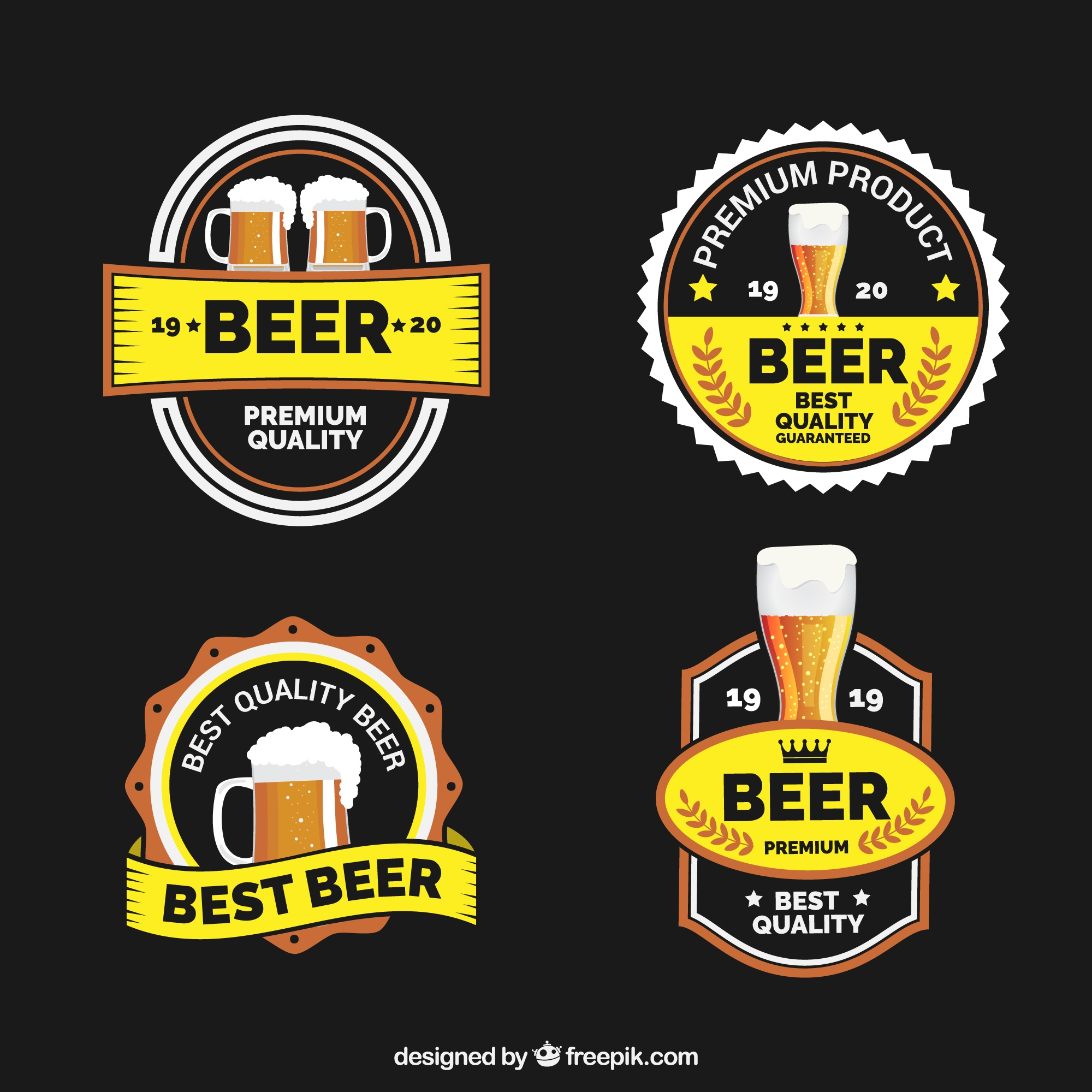 Decorative beer stickers in vintage style