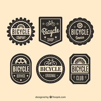 Decorative bicycle badges in vintage style