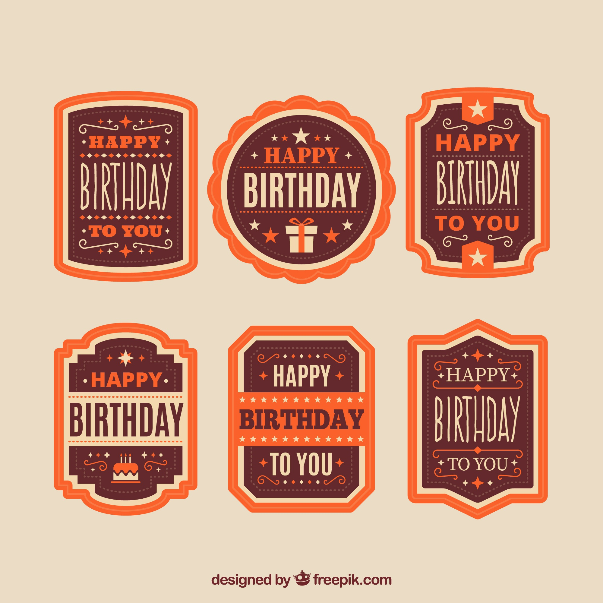 Decorative birthday badges in orange tones