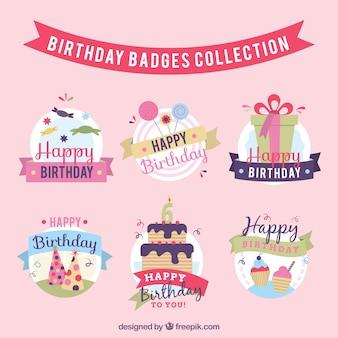 Decorative birthday badges set