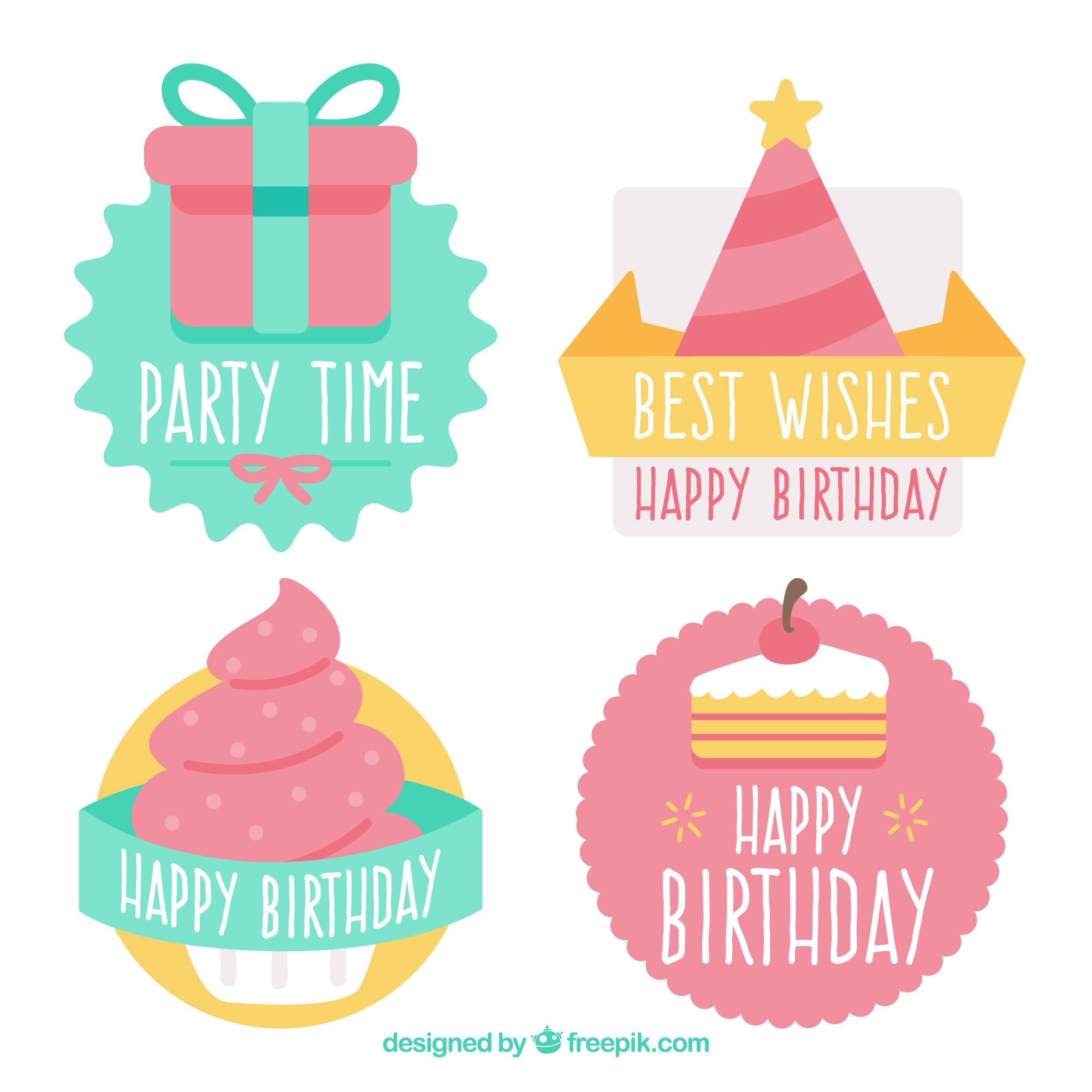 Decorative birthday stickers