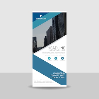 Decorative blue commercial roll up banner