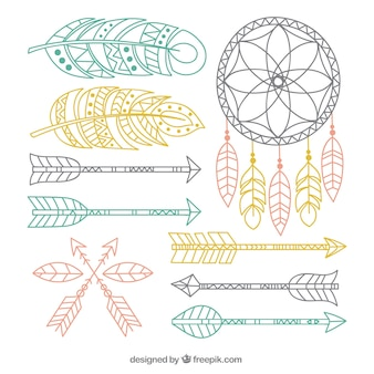 Decorative boho elements in pastel colors