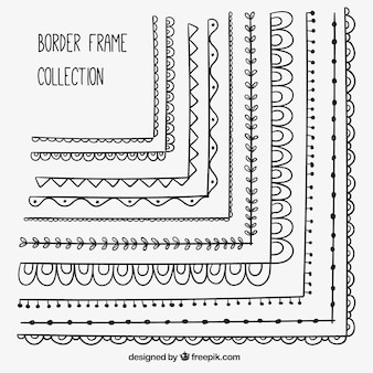 Decorative borders of hand drawn frames set