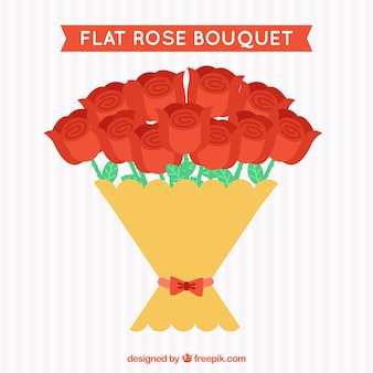Decorative bouquet of red roses in flat design