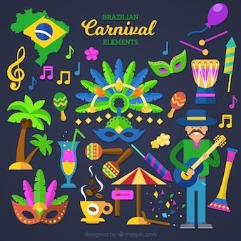 フラットなデザインで装飾ブラジルのカーニバルオブジェクト