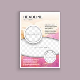 Decorative brochure template with a watercolor design