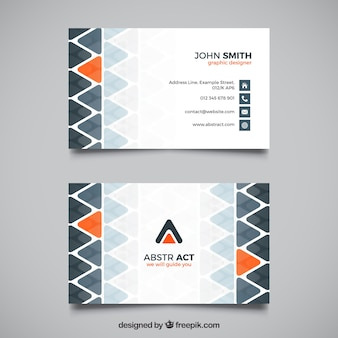 Decorative business card with orange triangles