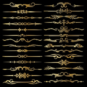 Decorative calligraphic page dividers vector illustrations
