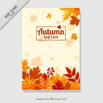 Decorative card with dry leaves