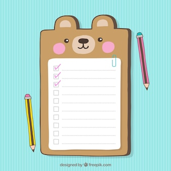 Decorative checklist with cute bear