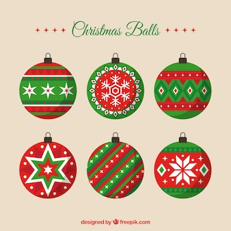 Decorative christmas balls in flat style