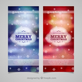 Decorative christmas banners with blurred background and stars