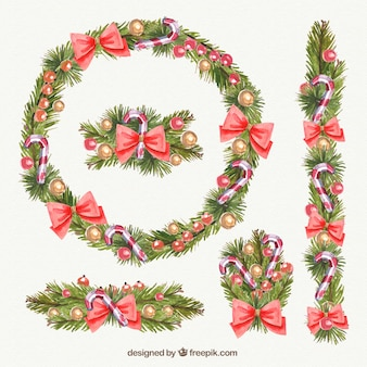 Decorative christmas garlands in watercolor style