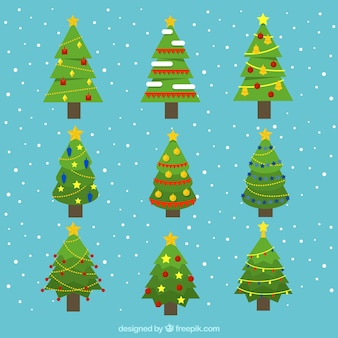 Decorative christmas trees with geometric designs