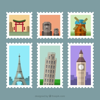 Decorative city stamps in flat design
