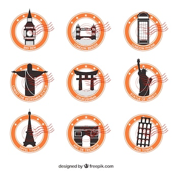 Decorative city stamps with orange circles