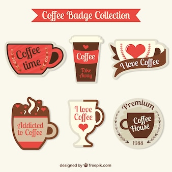 Decorative coffee stickers in vintage style