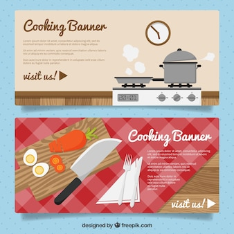 Decorative cooking banners in flat design