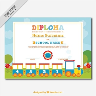Decorative diploma for kids with a fantastic train