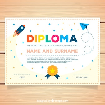 Decorative diploma for kids with rocket and stars