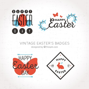 Decorative easter badges with color details