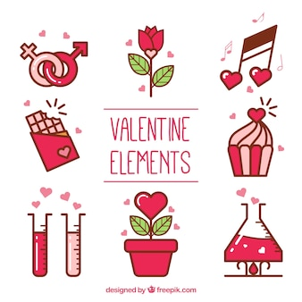Decorative elements ready for valentine's day
