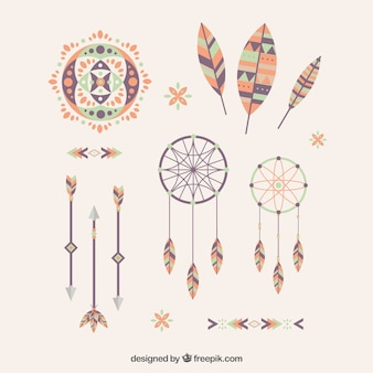 Decorative ethnic elements in flat design