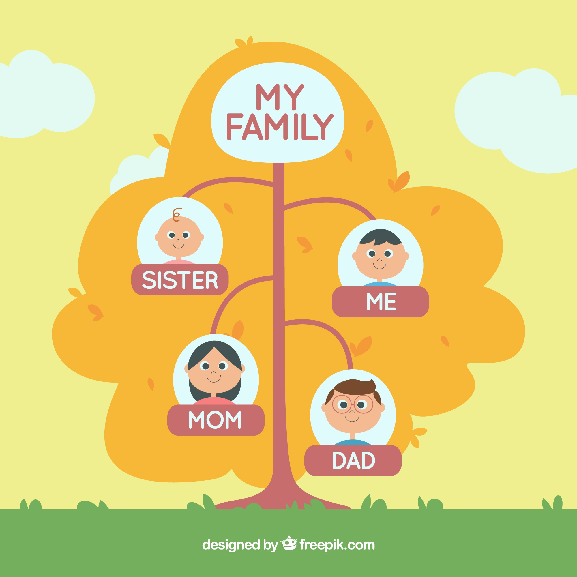 Decorative family tree with two generations
