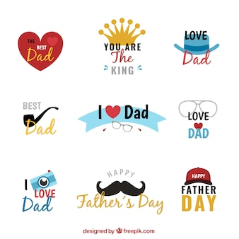 Decorative father's day stickers set