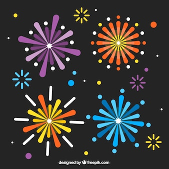 Decorative firework background in flat design