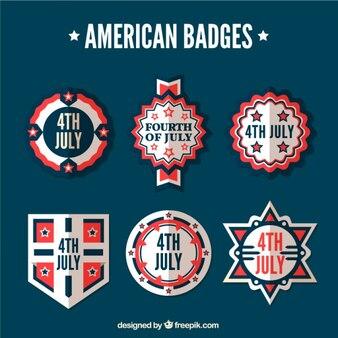 Decorative flat american badges