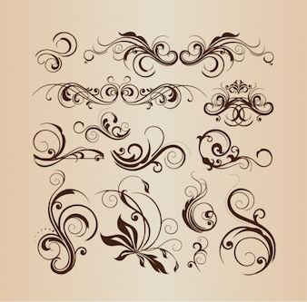 Decorative floral elements vector collection