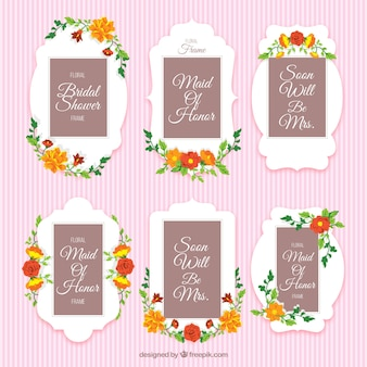 Decorative floral frames for bridal shower