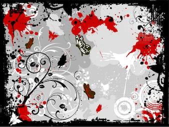 Decorative floral grunge design with butterflies