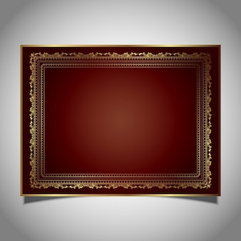 Decorative frame in metallic gold colours