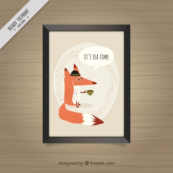 Decorative frame of fox having a tea