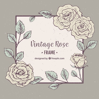 Decorative frame of roses in vintage style