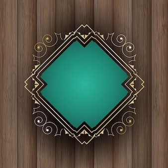 Decorative frame on a wooden background