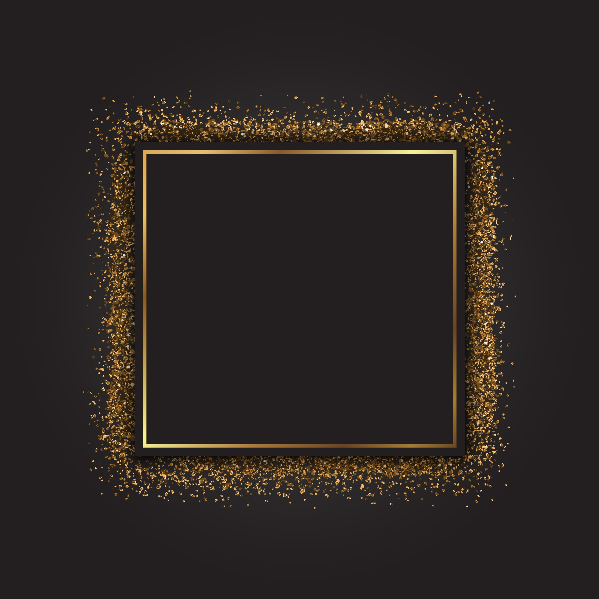 Decorative frame with a gold glitter effect