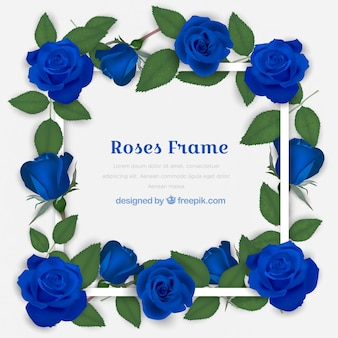 Decorative frame with blue roses