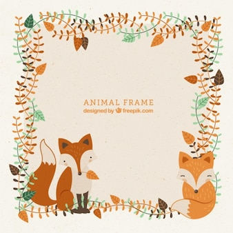Decorative frame with hand drawn lovely foxes and leaves